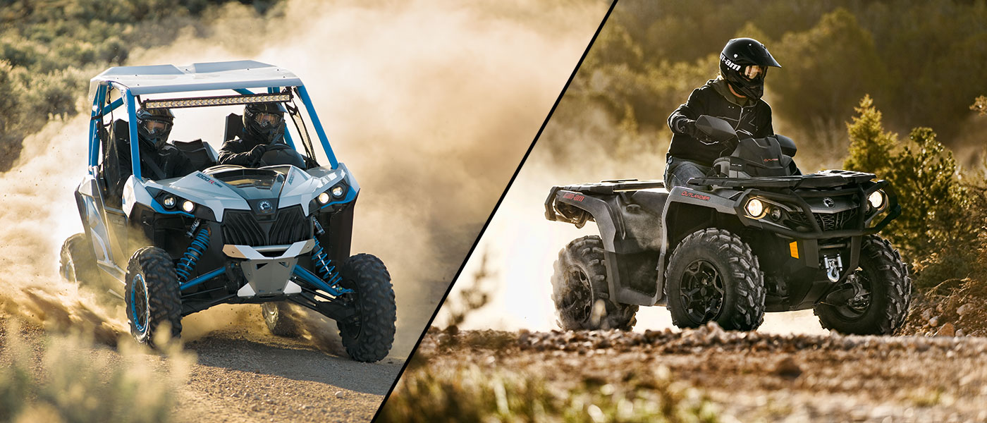 side by side or two up which can am atv should you buy. Black Bedroom Furniture Sets. Home Design Ideas